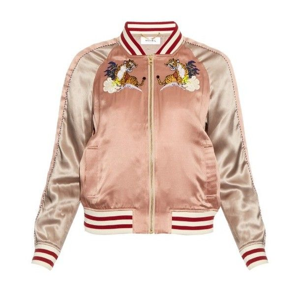 Helen Lee Giraffe embroidery appliqué silk bomber jacket ($630 ...