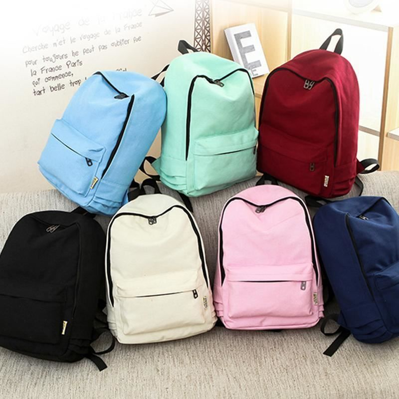 16c7afbd8637 2018 Canvas Pure Color Backpack Fashion Adolescent Girl Backpack Female Best  Wom  fashion  clothing  shoes  accessories  womensbagshandbags (ebay link)