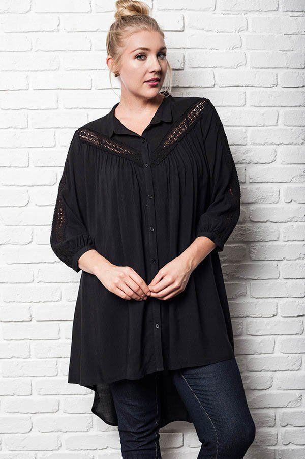 b362a0eac01 Bell Sleeve Top · women's plus size hi lo hem black lace up tunic Black  Button, Button Up,