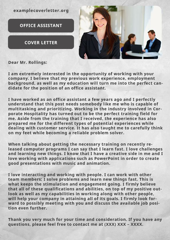 Examplecoverletterorg provides cover letter writing service on an - cover letter for office assistant