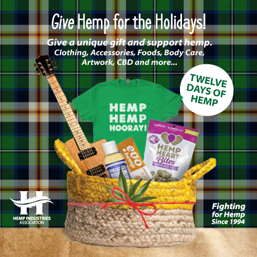 We want to promote our partner organization Hemp Industries Association's 12 Days of #GiveHemp for the Holidays campaign. Check out many limited-time offers this season at www.thehia.org/GIveHempforHolidays