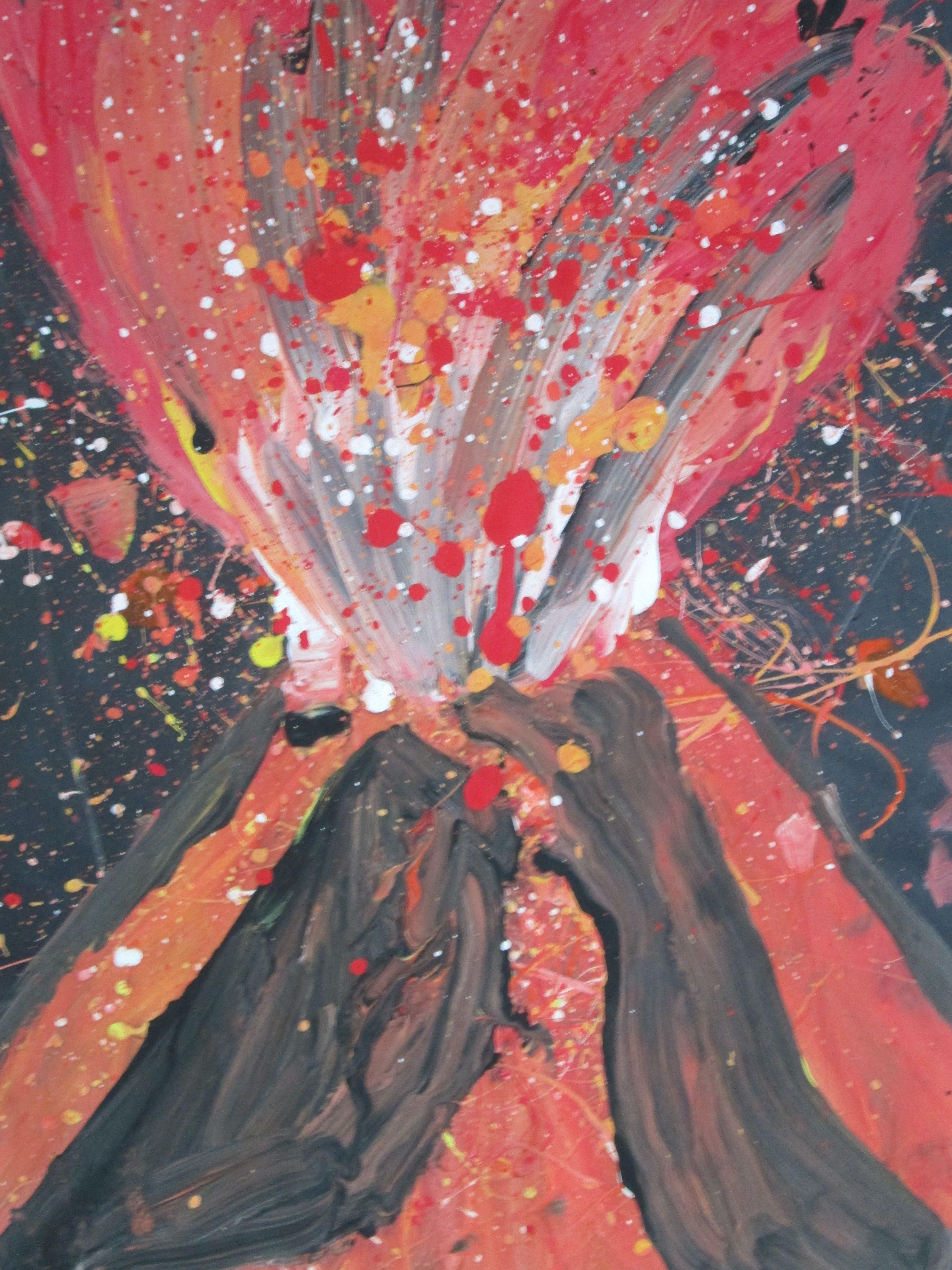 Volcano Painting Explosive Art Weather Art Volcano Projects Art