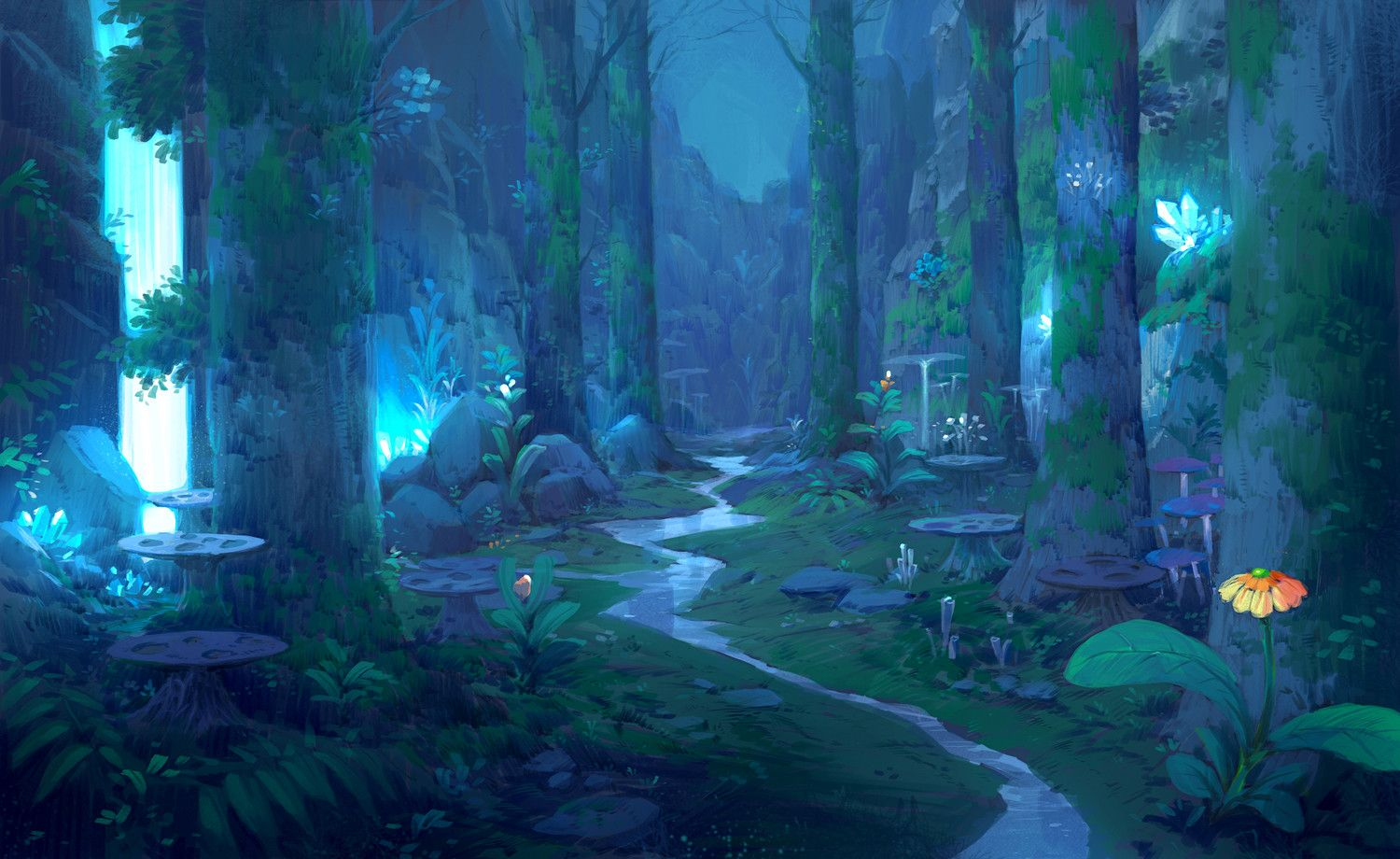 Photo of Forest_night_waterfall, Paperblue .net