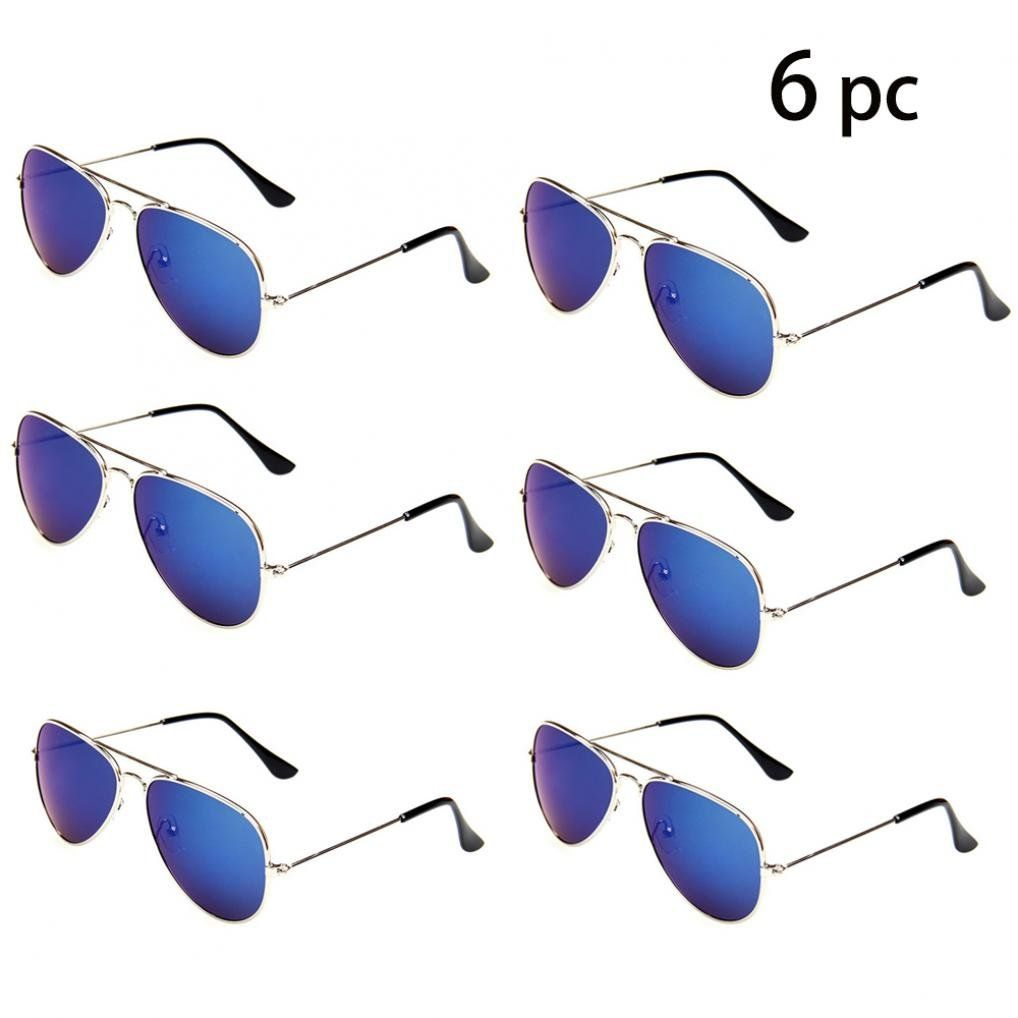 73567aeaf24 WODISON Classic Kids Aviator Sunglasses Bulk Reflective Metal Frame  Children Eyeglass 6 Pack. This sunglass