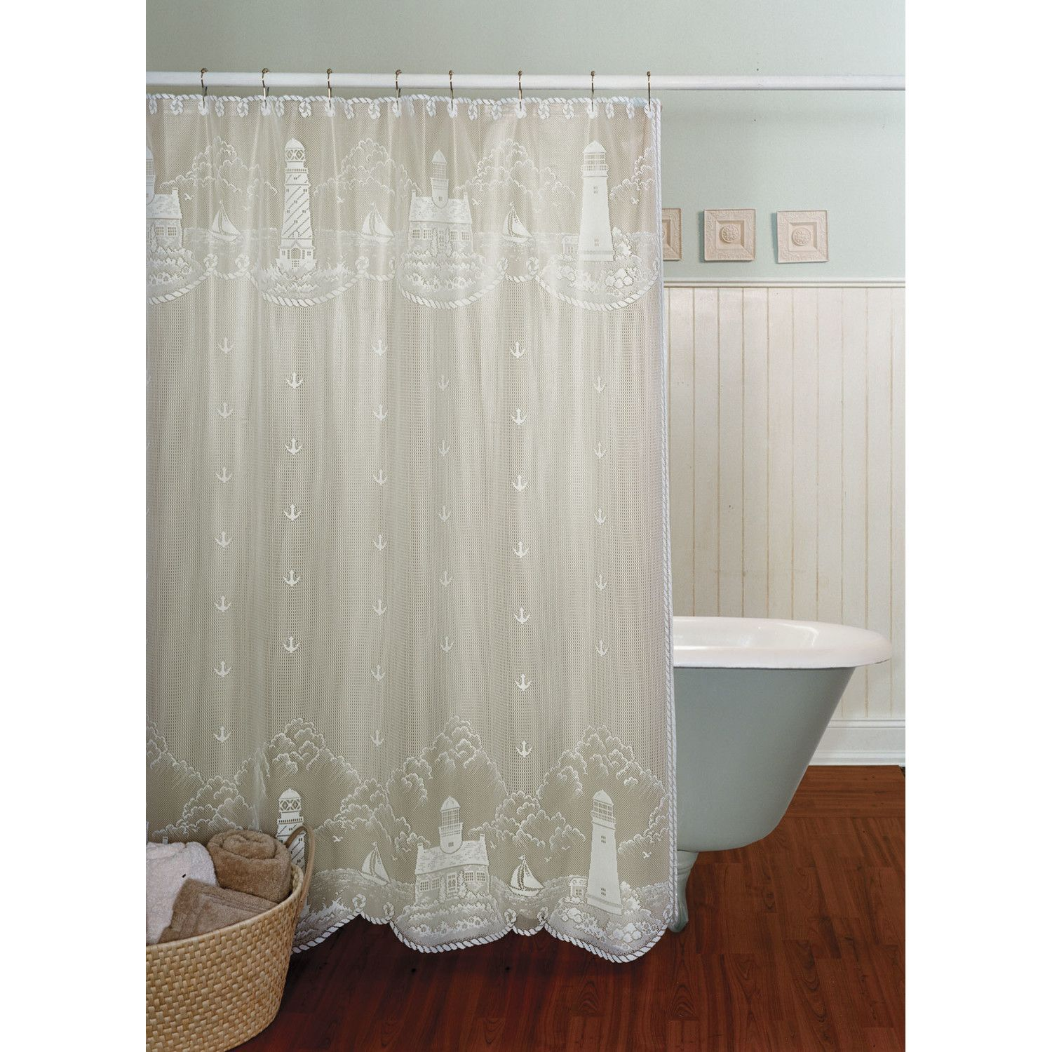 Bathroom 2 Heritage Lace Lighthouse Shower Curtain Home Ideas
