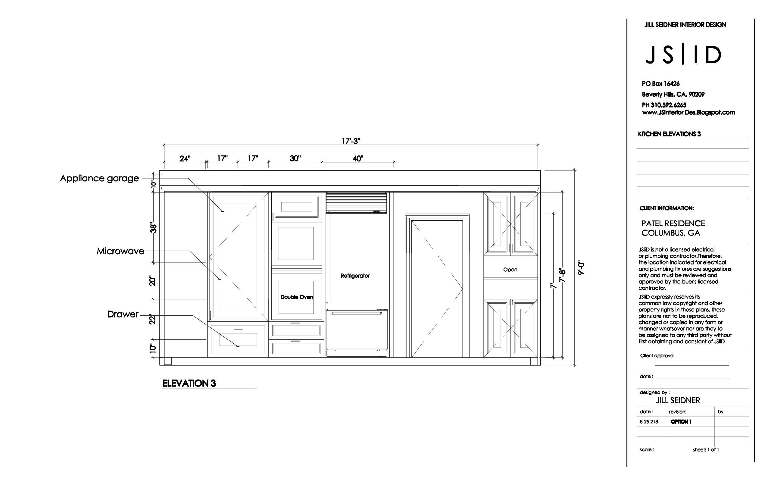 Columbus, GA Kitchen Remodel Elevation Drawing. www.JSInteriorDes ...