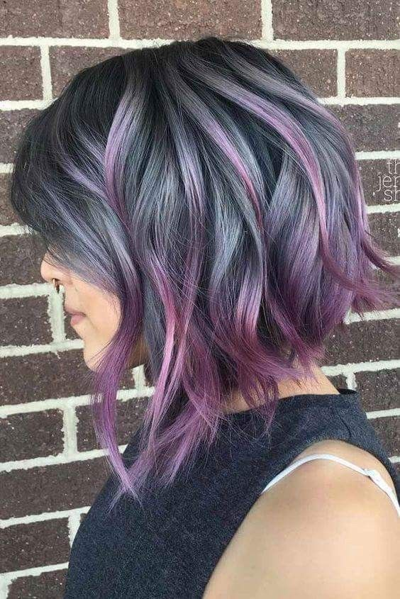 Smokey Grey And Purple Pink Fuchsia Balayage A Line Stacked Messy Bob Hair Styles Hair Color Purple Thick Hair Styles