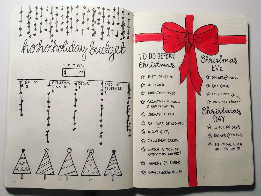 Bullet Journal Christmas Layout Holiday Budget Tracker Holiday