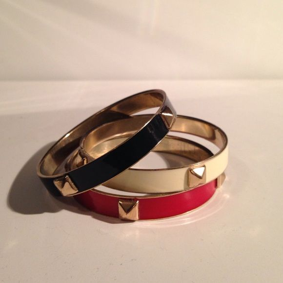 Red Black And Cream Studded Bangles