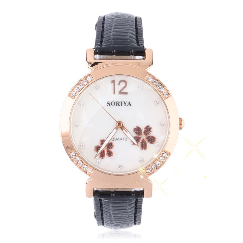 Creative Trendy Waterproof Crystal Flower Dial Wristwatch Luminous Simulate Quartz Leather Watch Sale