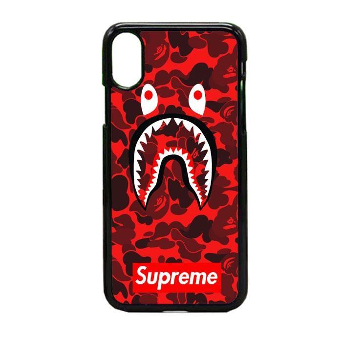 Bape Camo Shark Face Logo Supreme Red iPhone X Case