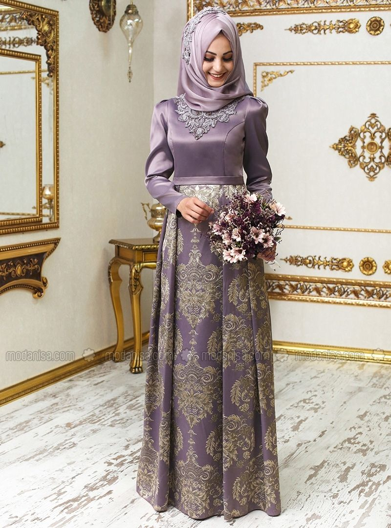 3ac91ab3b2 Crew neck - Fully Lined - Purple - Muslim Evening Dress - An-Nahar ...