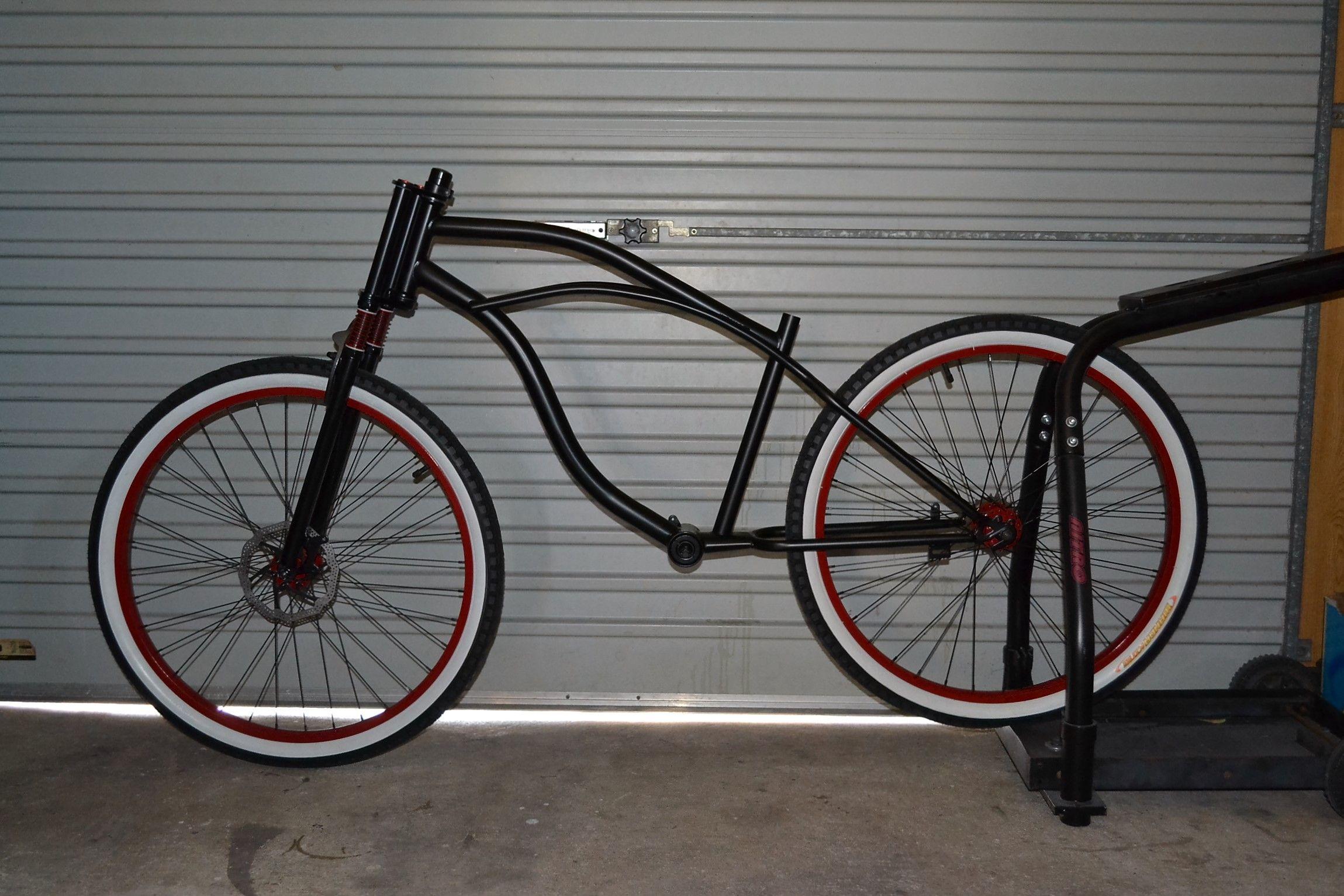 26 beach cruiser frame custom made wheels and custom made triple tree suspension forks  [ 2299 x 1533 Pixel ]