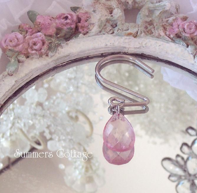 Shabby crystal chic pink wine shower curtain hooks | Cottage ...