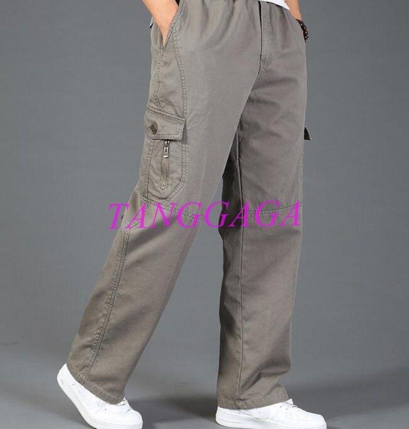 Men/'s Baggy Loose Cargo Carpenter Casual Overalls Cotton Sport Pants Plus Size