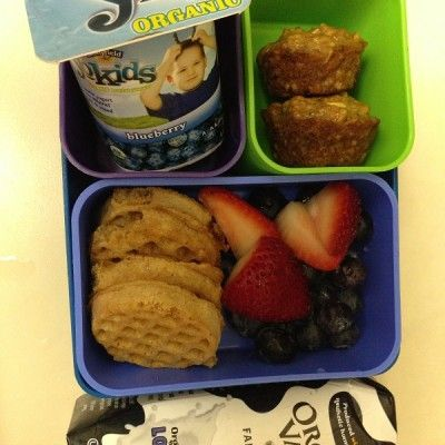 """Breakfast for Lunch: Organic Valley Milk box Strawberries and Blueberries Mini-waffle sandwiches with sunflower butter and jelly Sweet potato muffins YoKids yogurt  -Lunch created by Jessica from <a href=""""http://peekababyny.com/"""">Peek A Baby.</a>"""