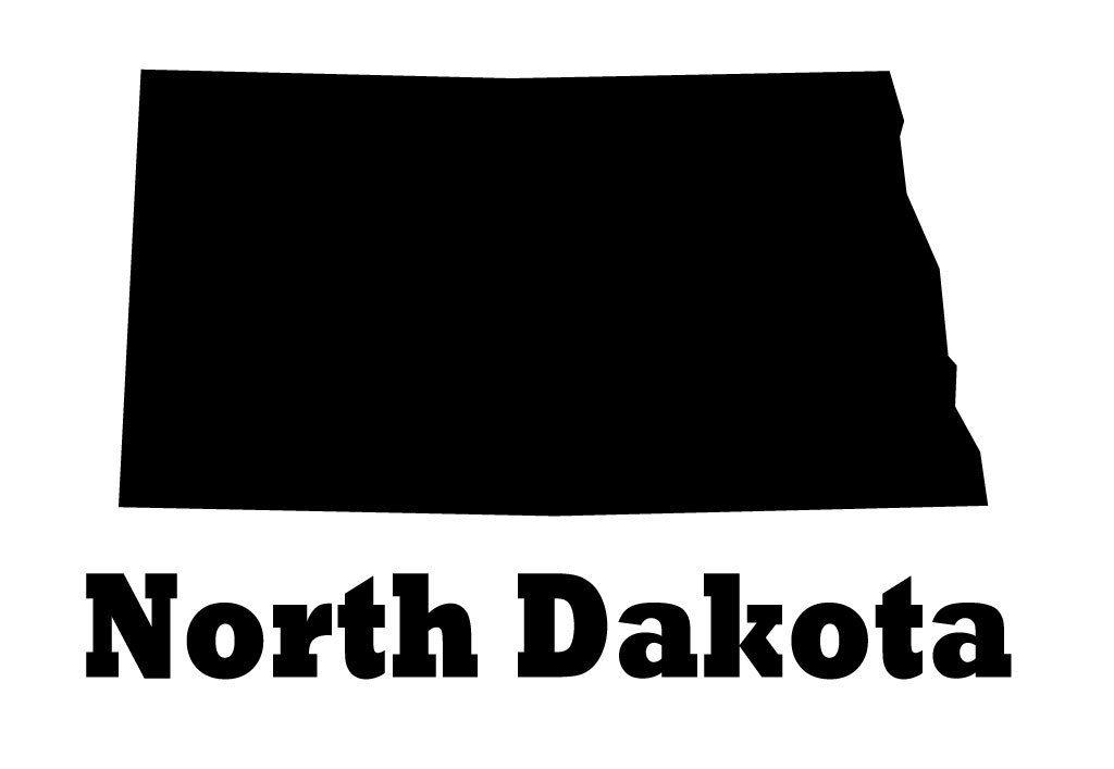 North Dakota State Vinyl Wall Decal Map Silhouette Decoration - North dakota state map