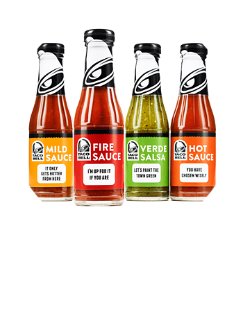 Get The Sauce - Bottled Awesome (The popular Taco Bell Verde Salsa, Mild Sauce, Hot Sauce, and Fire Sauce are now being bottled and sold at grocery stores like Publix and Albertsons.)
