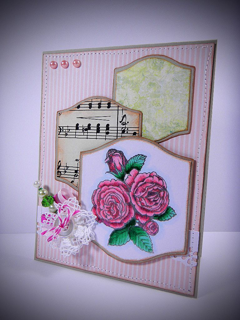 A multipurpose card suitable for birthday, sympathy, friendship, thank you, pretty much any occasion. Handmade decoration includes a small jeweled stick pin.  This card is for sale in my Etsy shop.  https://www.etsy.com/listing/193214464/shabby-chic-handmade-greeting-card-multi?ref=listing-shop-header-2