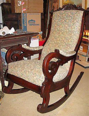 Victorian Carved Walnut Lincoln Rocker Rocking Chair Ca