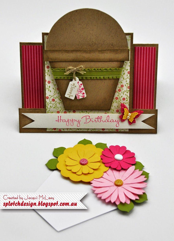 Flower Pot Birthday Card Wedding Cards Handmade Fancy Fold