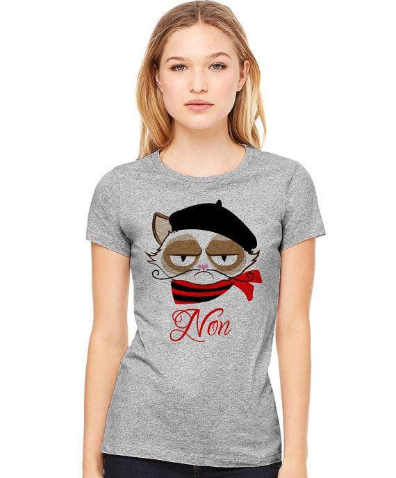 Paris Grumpy Cat Non Funny T-Shirt in Gray