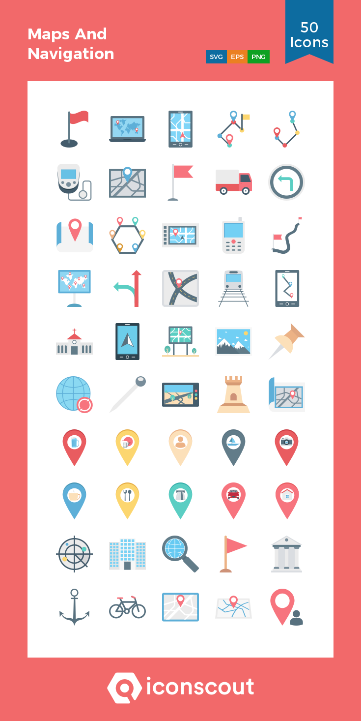 Download Maps And Navigation Icon Pack Available In Svg Png Eps Ai Icon Fonts Map Icons Icon Pack Map