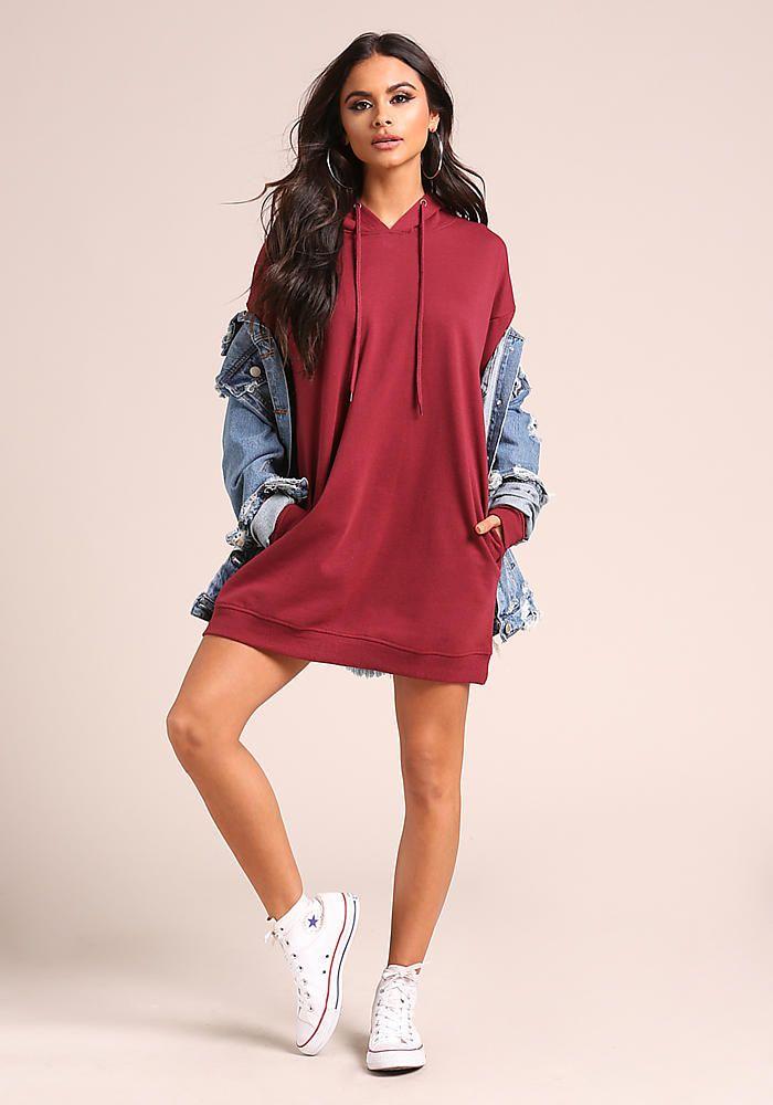 fa919e4cae Burgundy Hooded Tunic Sweater Top - Sale