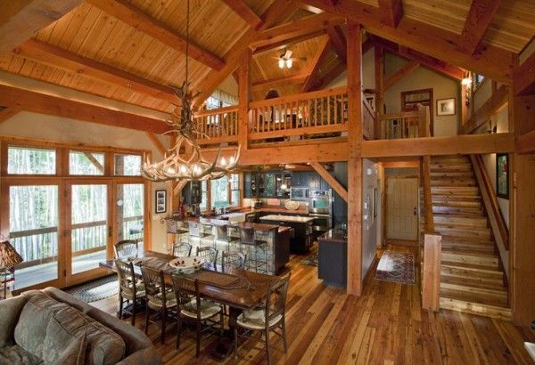 Small Log Home Plans With Loft Above U Shaped Kitchen Remodel Using Apron Front Sink Toward