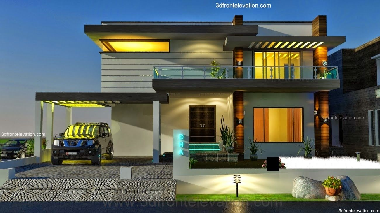 kanal dha modern contemporary house design with swimming plool  front elevation also rh pinterest