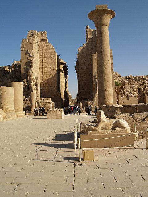The main hall inside the temple of Karnak looking up into the centre of the temple - Egypt