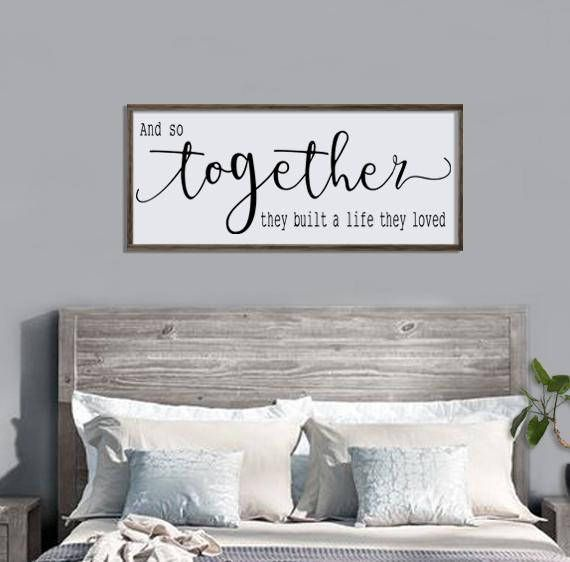 bedroom signs. And So Together  They Built A Life Loved Wood Sign Large Framed Bedroom Wall Art Couples Farmhouse Style Love Decor decor