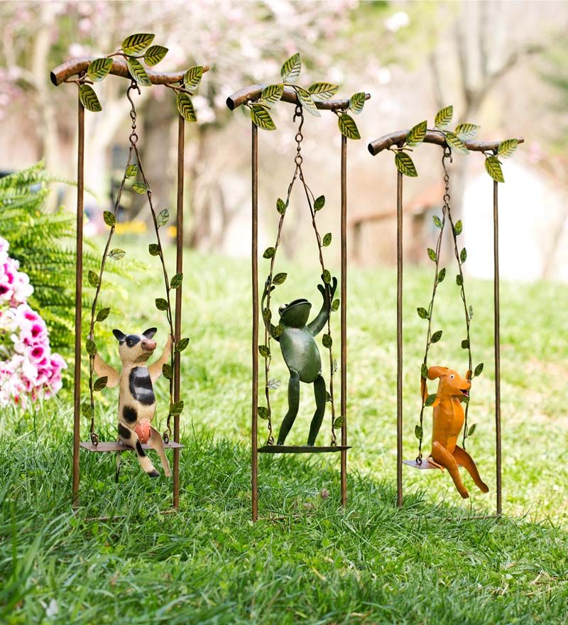 Recycled Metal Swinging Animals Bring Fun To Backyard, Garden Or Flower  Bed. Stake Them
