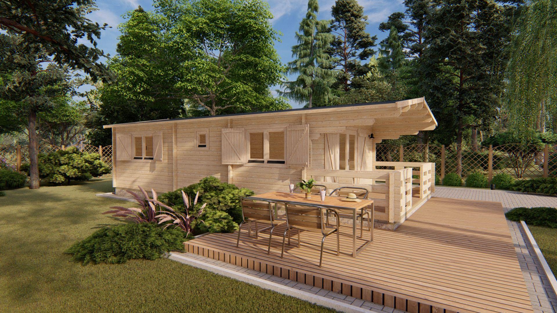 Bungalow in prefabricated wood model Typ-2 | Gardendeco