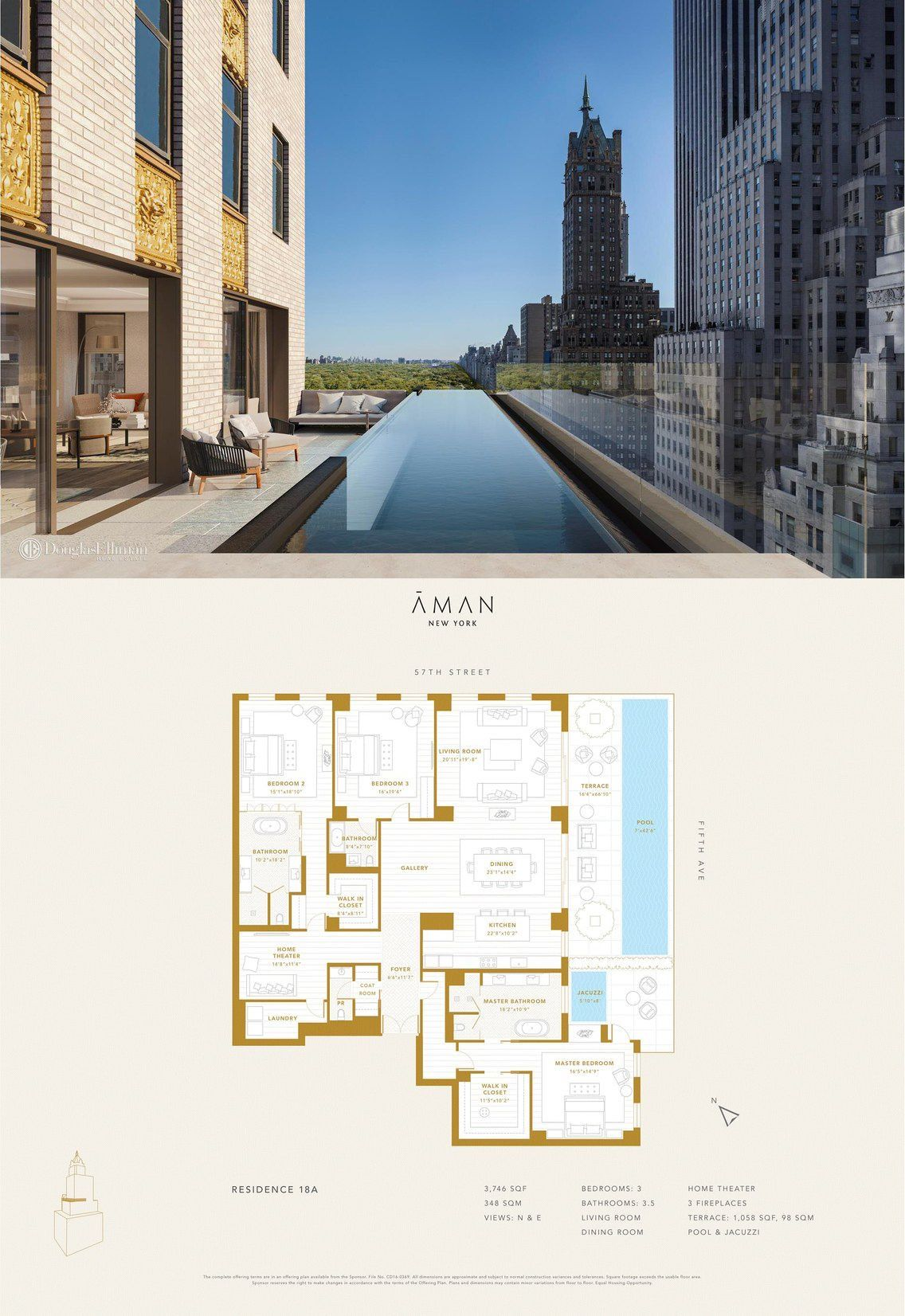 Aman New York Residences 18a This 3 746 Square Foot Three Bedroom Three And A Half Bath Residence Metic In 2020 Apartment Floor Plans Floor Plans Central Park View