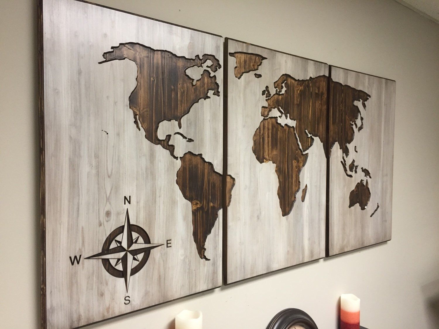 Beautiful A Personal Favorite From My Etsy Shop  Https://www.etsy.com/listing/264790998/wood World Map Wall Art  Carved 3 Panel