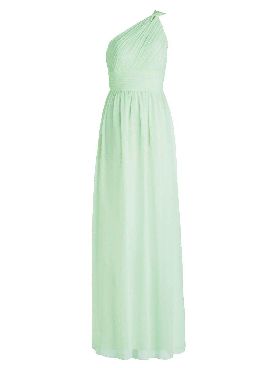 Green dress one shoulder  Oneshoulder Pleated Dress Color Mint Green Fabric Chiffon