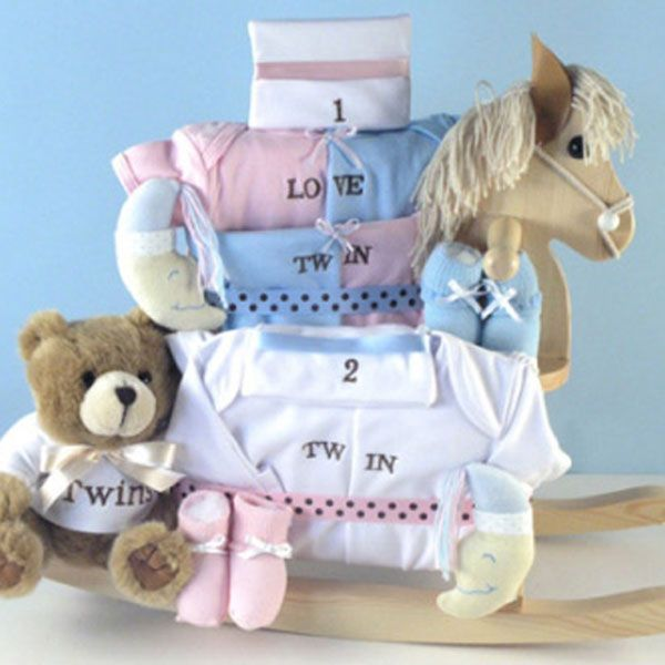 Twin rocking horse baby gift