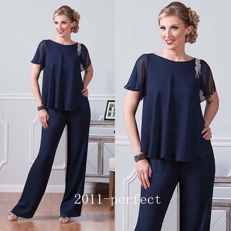 Navy Blue Chiffon Pants Suits Mother Of The Bride Dress Jewel Neck ...