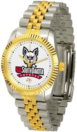South Dakota Coyotes Executive Men's Watch by SunTime. $133.95. The ultimate NCAA South Dakota Coyotes fan's statement, our Executive timepiece offers men a classic, business-appropriate look. Features a 23KT gold-plated bezel, stainless steel case and date function. Secures to your wrist with a two-tone solid stainless steel band complete with safety clasp.. Save 21%!