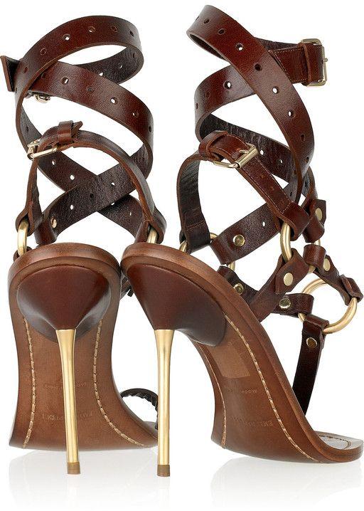 Emilio Pucci Leather T-Bar Grecian High Heel Sandals