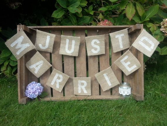 Hessian 'Just Married' banner for Weddings Rustic.