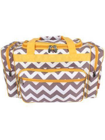 Grey Chevron Duffle Bag with Yellow Trim