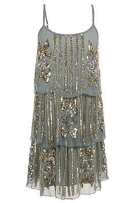 TEAL 1920's FLAPPER CHARLESTON uk 8 12 gatsby ART DECO sequin tiered BLUE dress