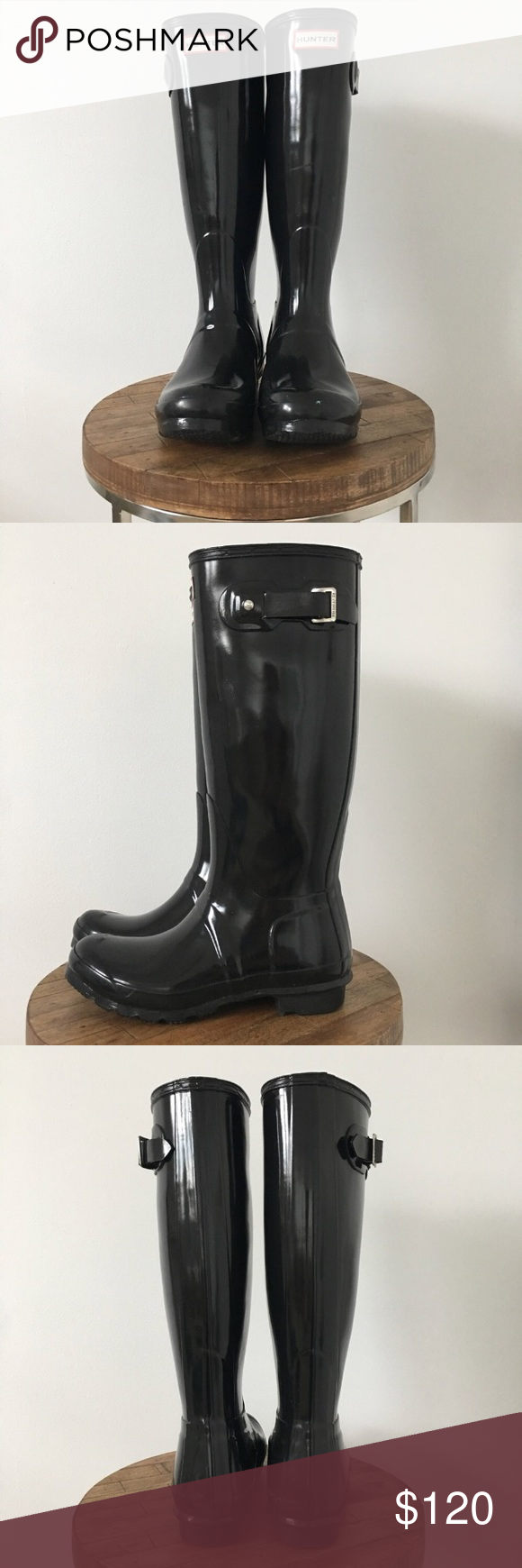 Original Hunter boots Original tall-height Hunter boots. Glossy black. In excellent preowned condition. Worn a few times only a couple scuffs around the ankles. Smoke and pets free home. Bundle and save. Hunter Shoes Winter & Rain Boots