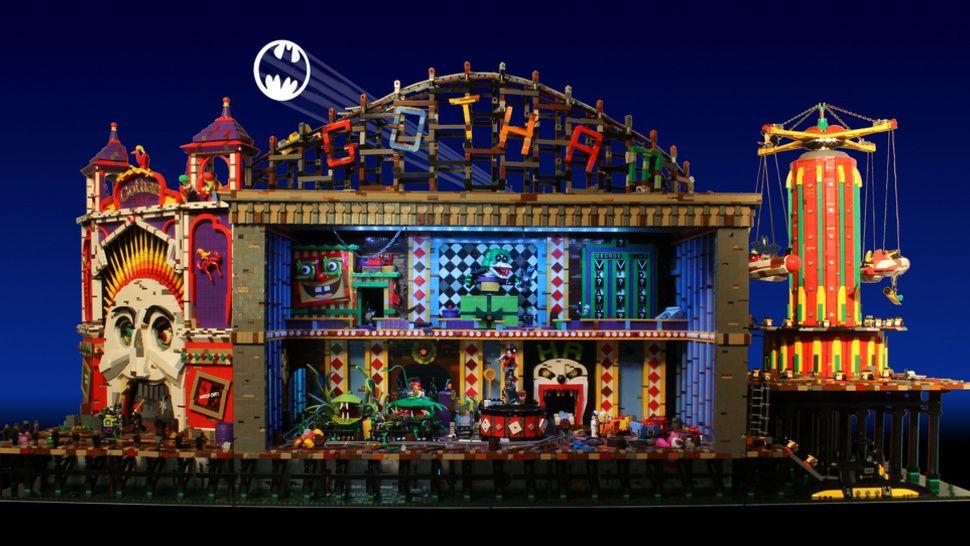 Batman's rogues gather inside the Joker's animatronic LEGO