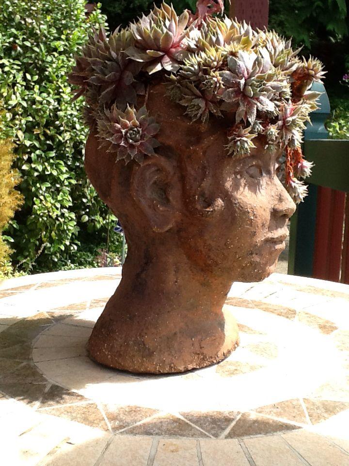Clay Head Planter Head Planters Garden Art Planters 400 x 300