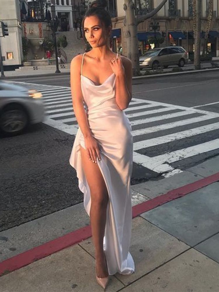 Cowl Neck White Satin Evening Dresses