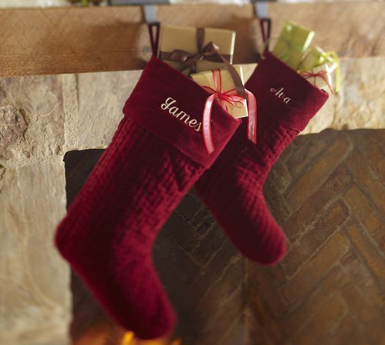 Personalized Channel Quilted Velvet Stockings
