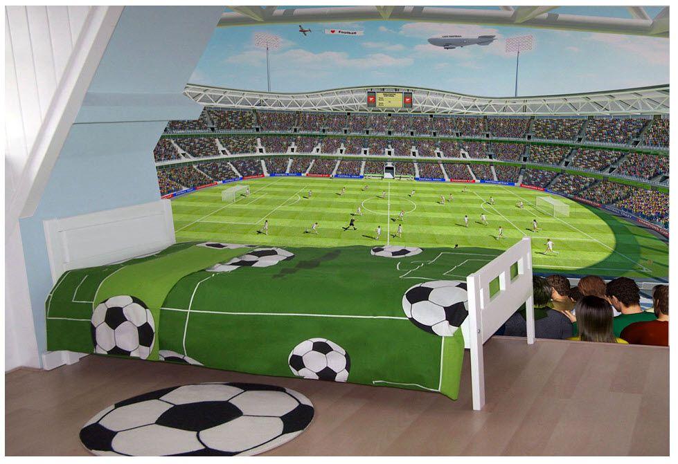 Football Stadium Boys Bedroom Wallpaper Mural Design Wm414: Voetbal Slaapkamer, Jongenskamer